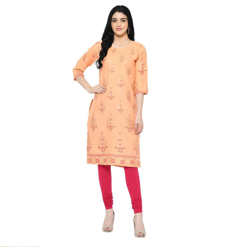 New Stylish Ladies Orange Straight Printed Long Cotton Kurti
