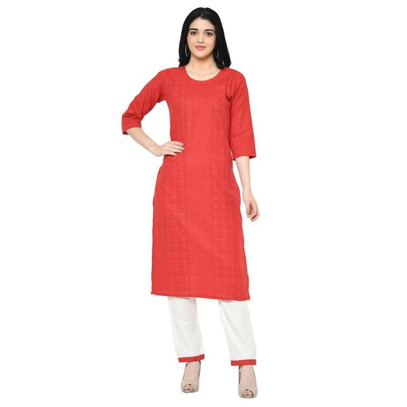 Latest Designer Ladies Red & White Cotton Kurti With Plazo Pants