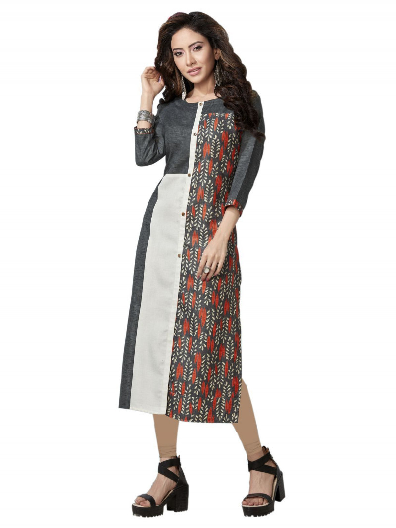 Ladies Office Wear Grey & White Linen Printed Kurti