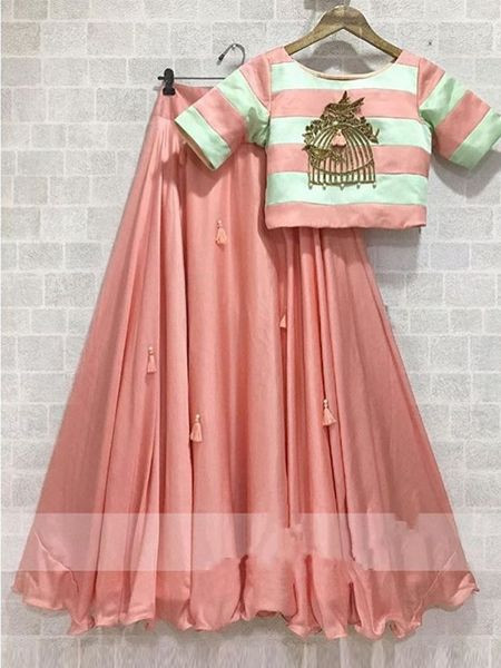 Simple Plain Peach Girls Crop Top and Lehenga Skirt Set