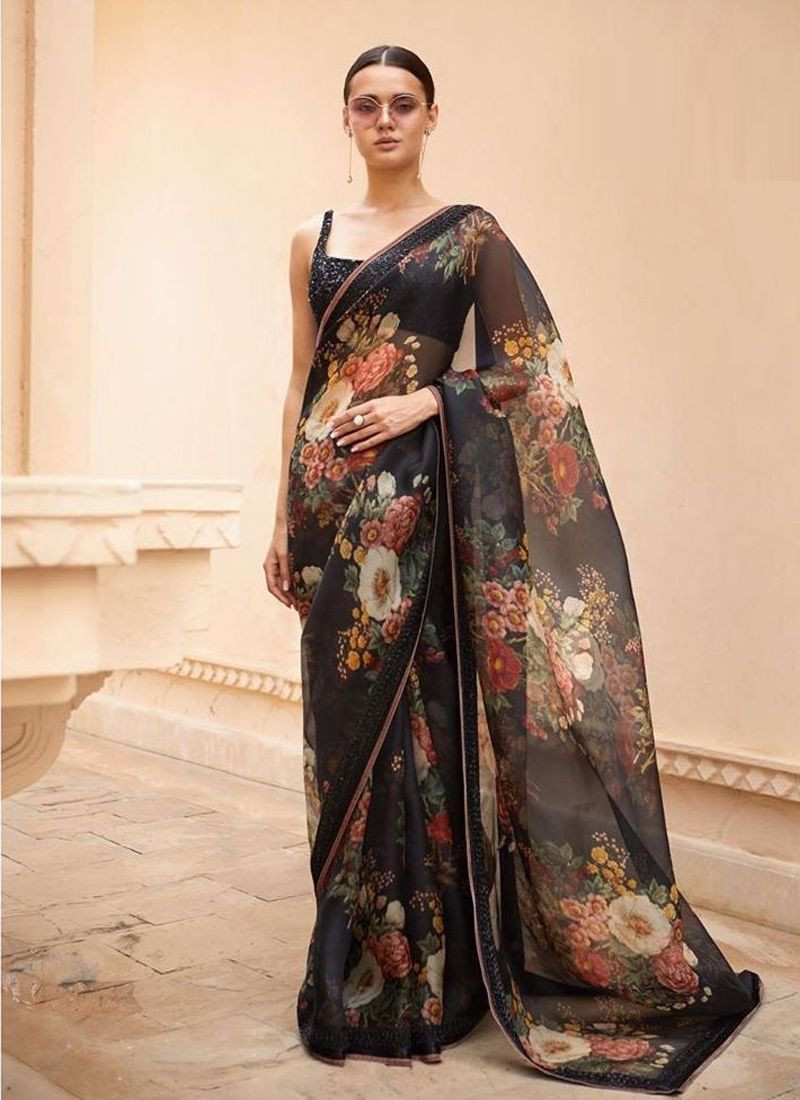 Simple Black Floral Printed Designer Sabyasachi Saree