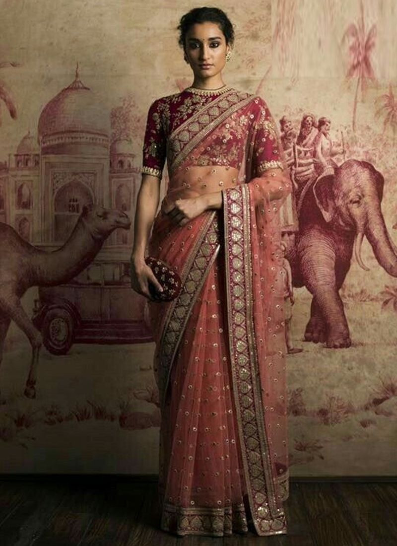Indian Party Wear Pink Designer Sabyasachi Saree 2020