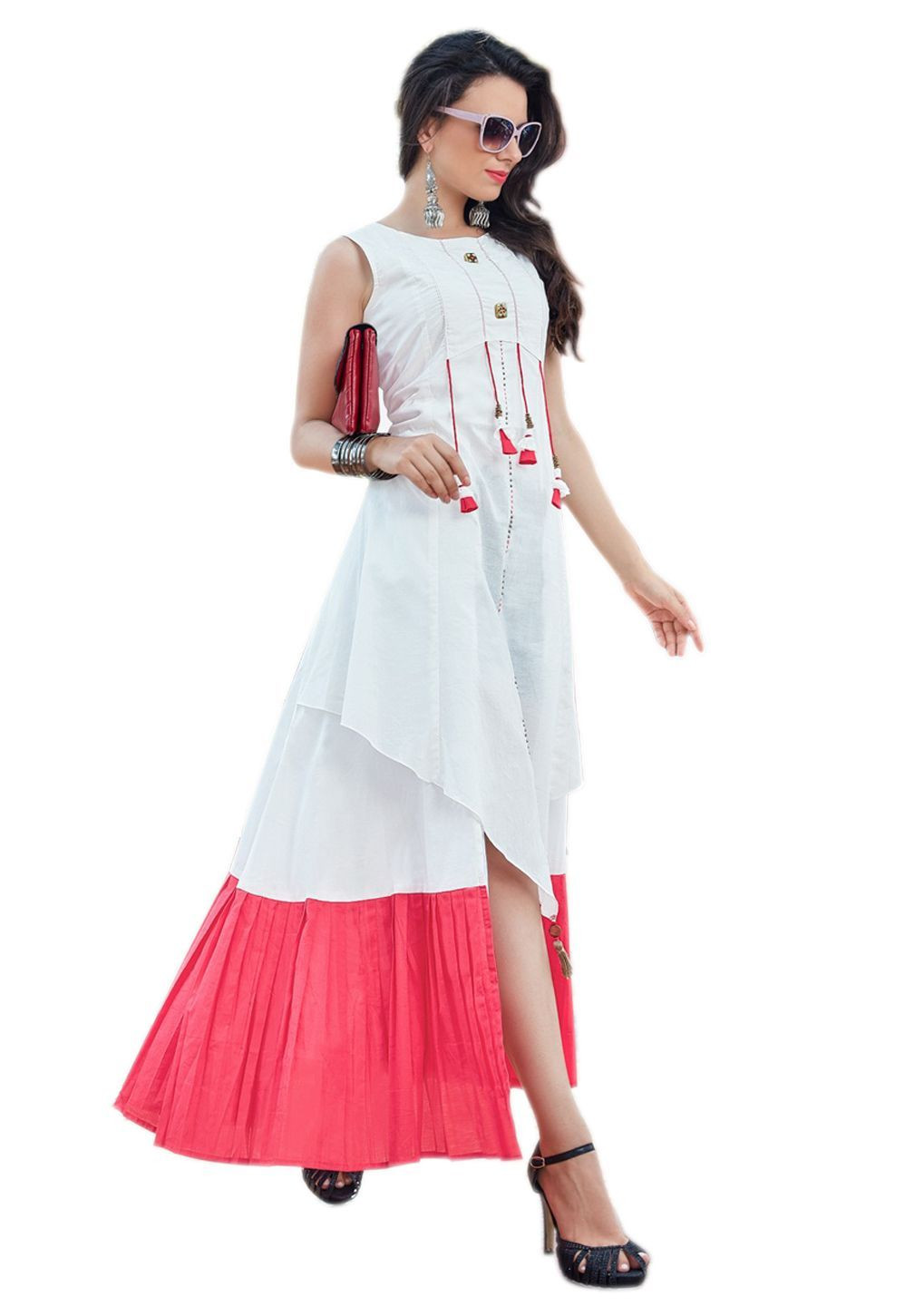 White & Pink Layered Round Neck Cotton Kurti