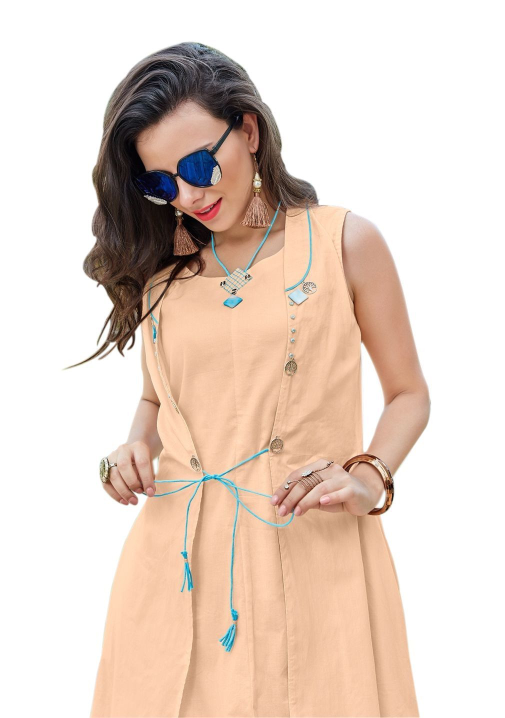 Light Orange Round Neck Cotton Kurti with jacket