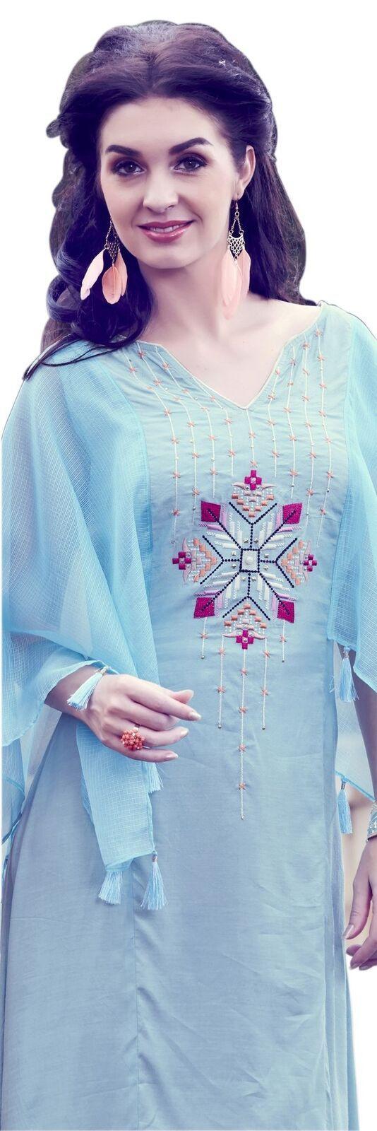 YOYO Fashion Sky Blue Silk Long Bell Sleeves Kurti