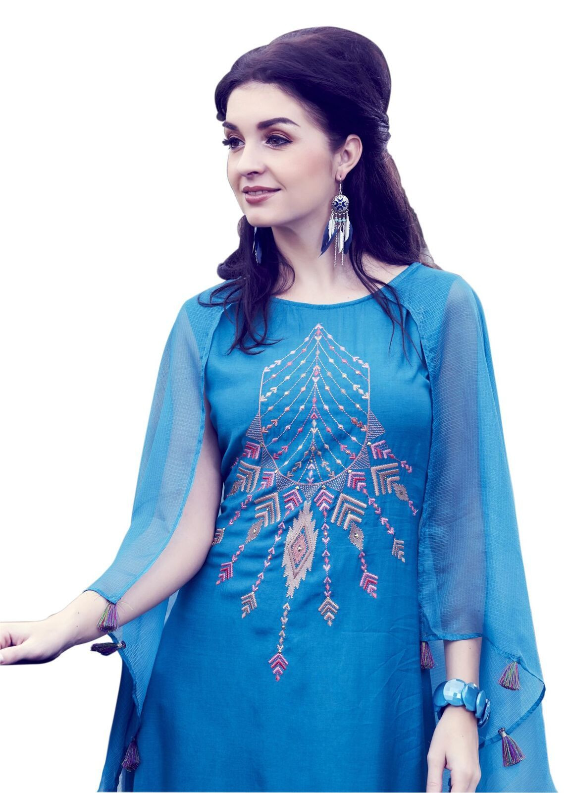Blue Silk Up Down Long Bell Sleeves Kurti