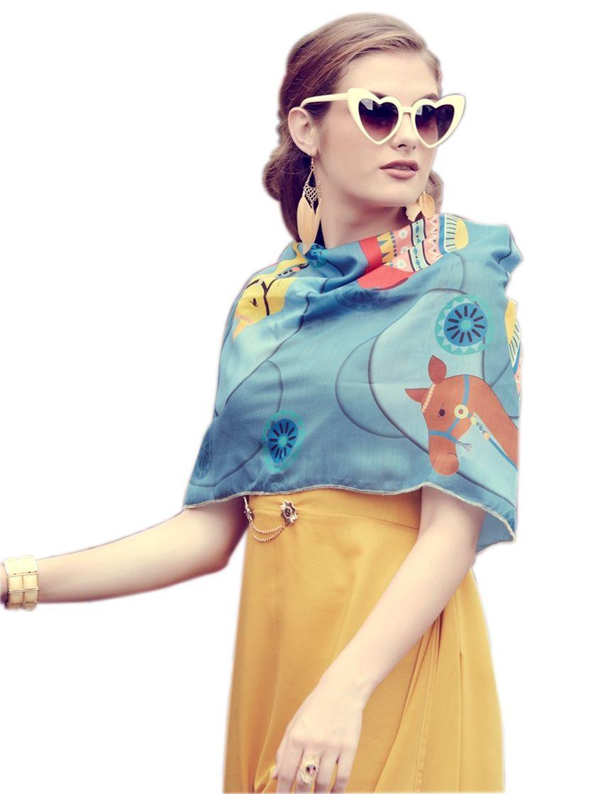 Yellow Designer Muslin Long Draped Kurti