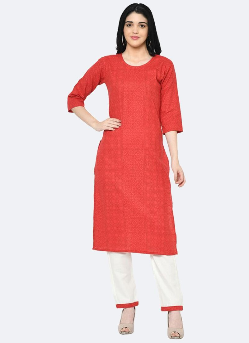 Latest Designer Ladies Red & White Cotton Kurti With Plazo Pants