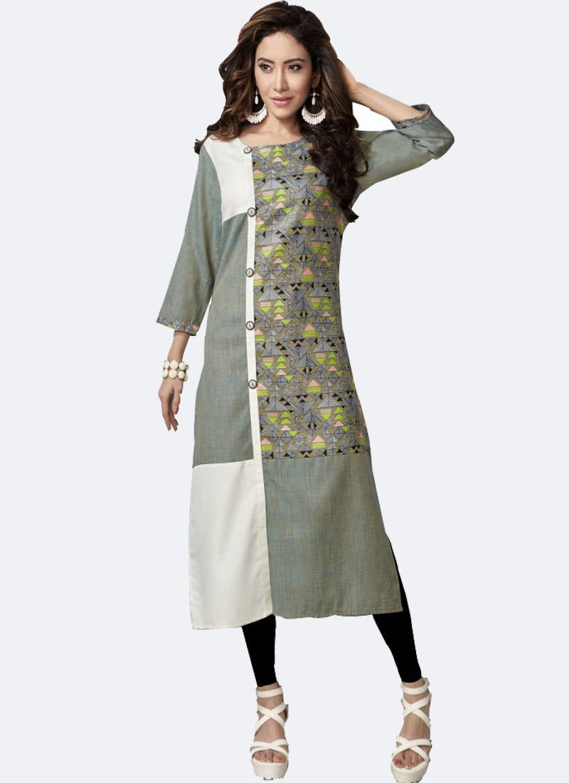 Light Green & White Long Linen Kurti