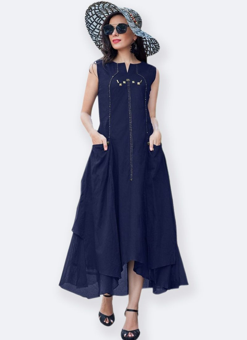 Navy Blue Stylish Sleeveless Long Cotton Kurti