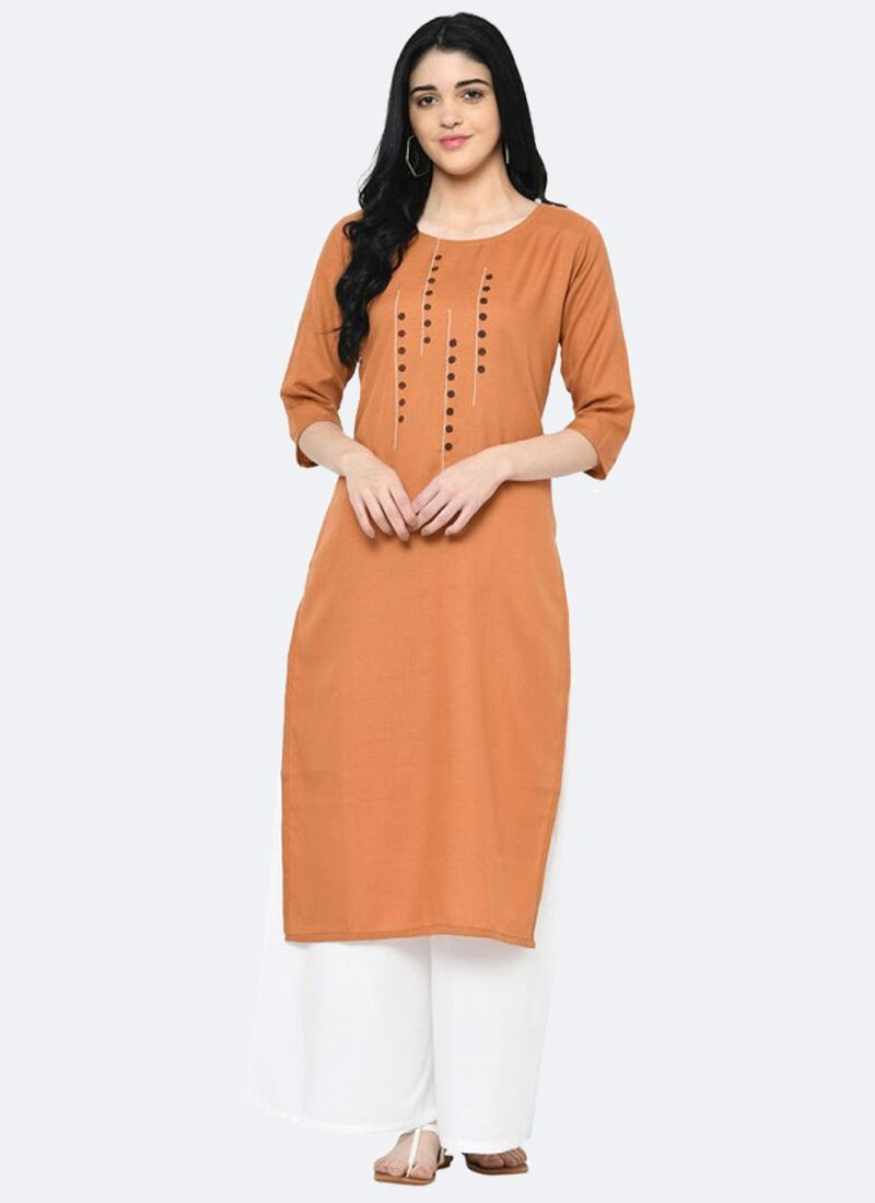 Orange Party Wear Cotton Straight Long Kurti