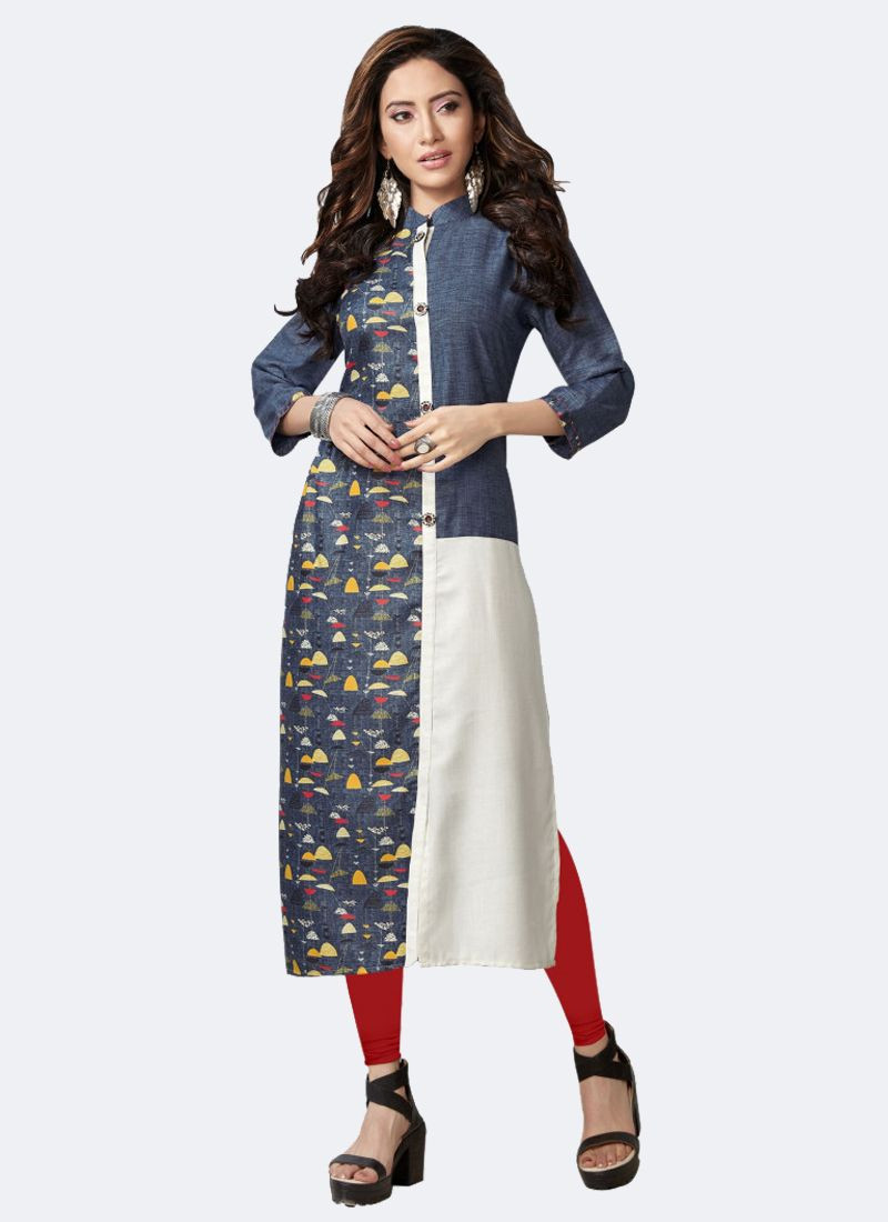 Blue & White Fancy Linen Kurti
