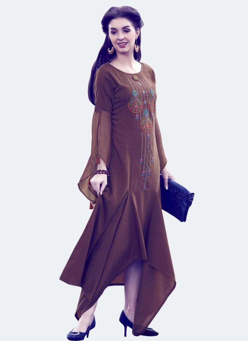 Brown Silk Embroidered Round Neck Kurti With Bell Sleeves