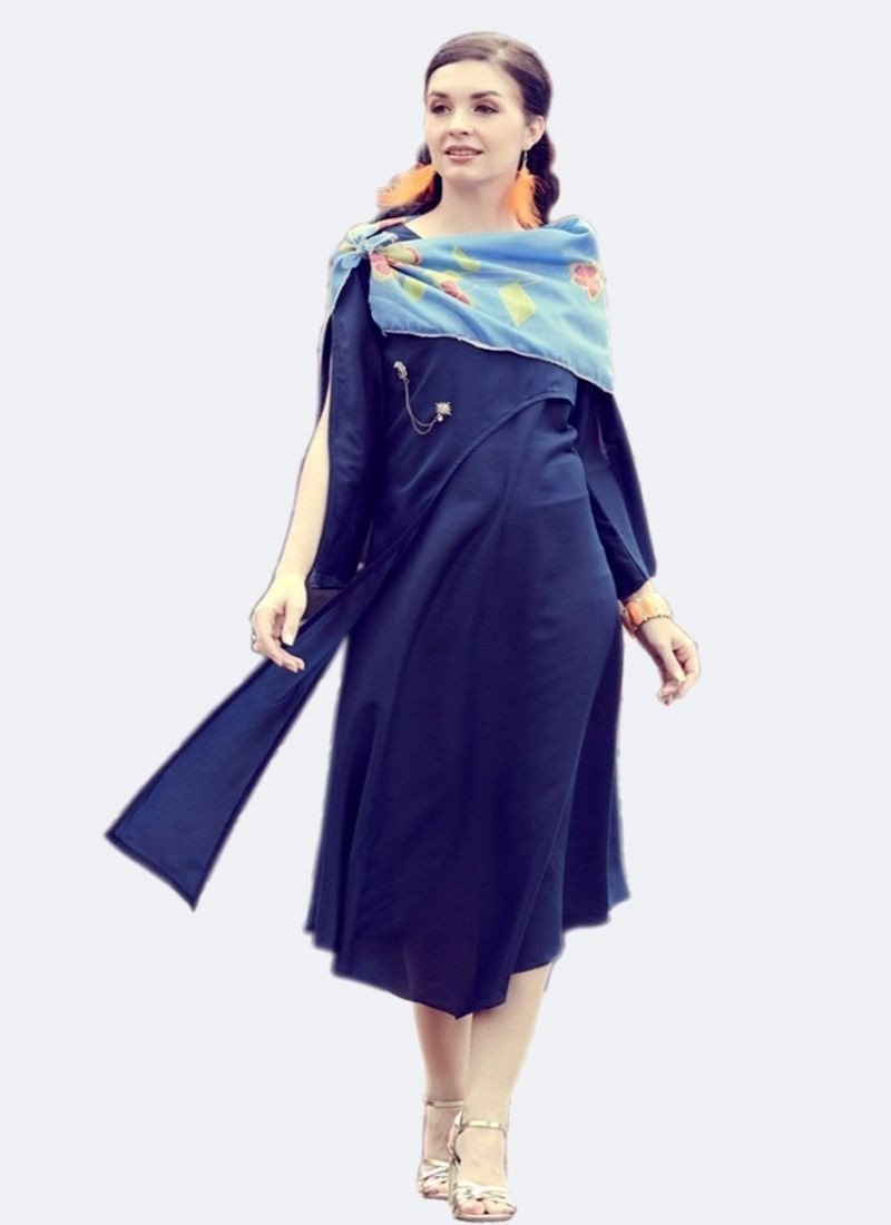 Dark Blue Muslin Side Cut Long Sleeves Kurti