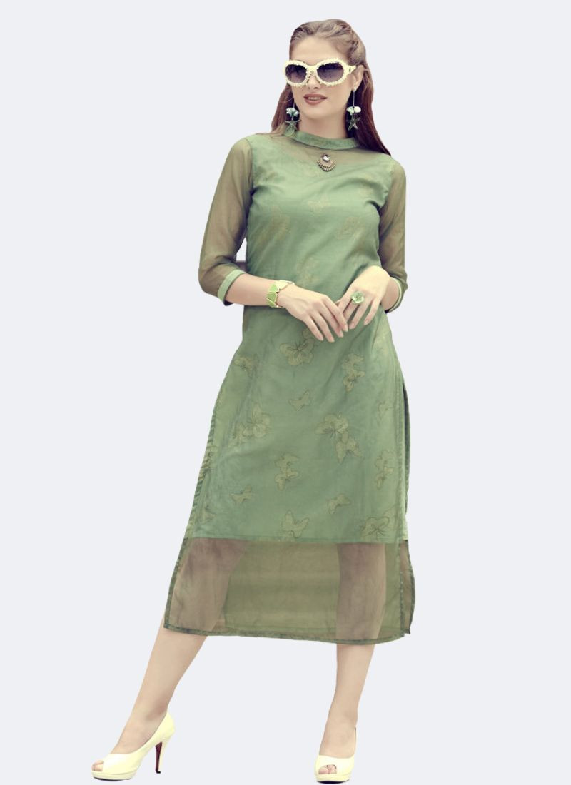 Light Green Designer Organza Kurti