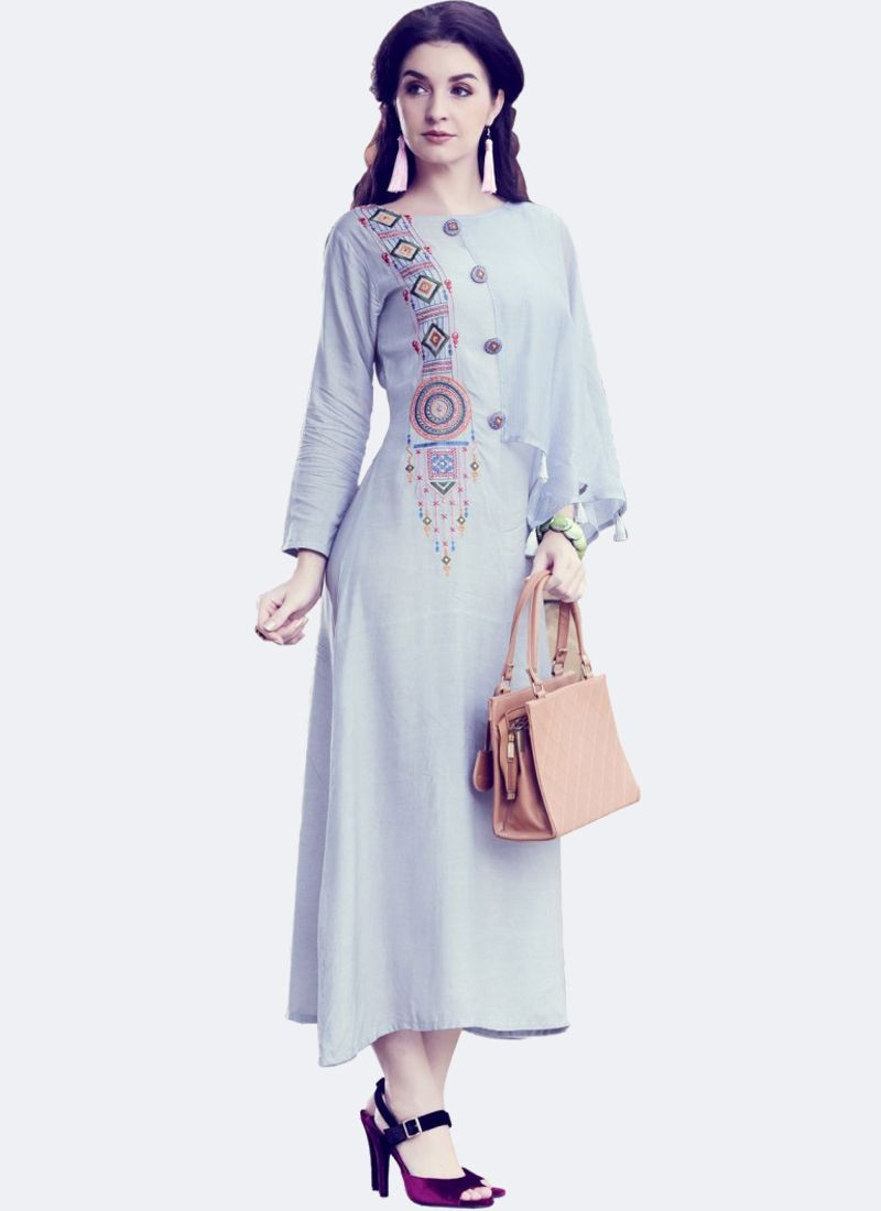 Grey Silk A-Line Embroidered long Kurti With Bell Sleeves