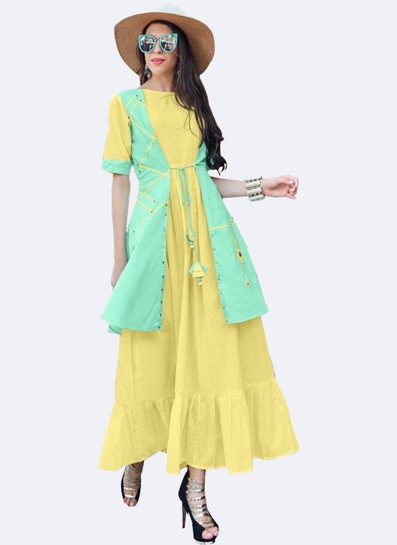 Yellow Cotton Anarkali Kurti with Jacket