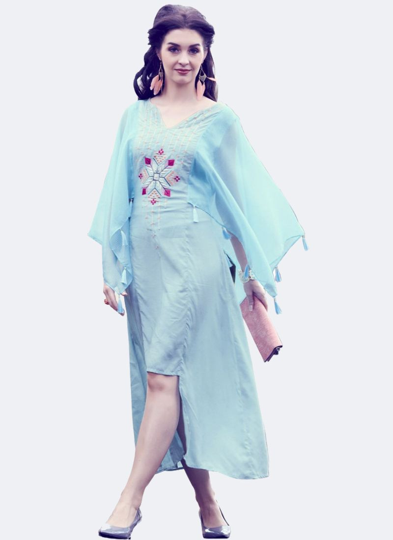 YOYO Fashion Sky Blue Silk Long Bell Sleeves Kurti