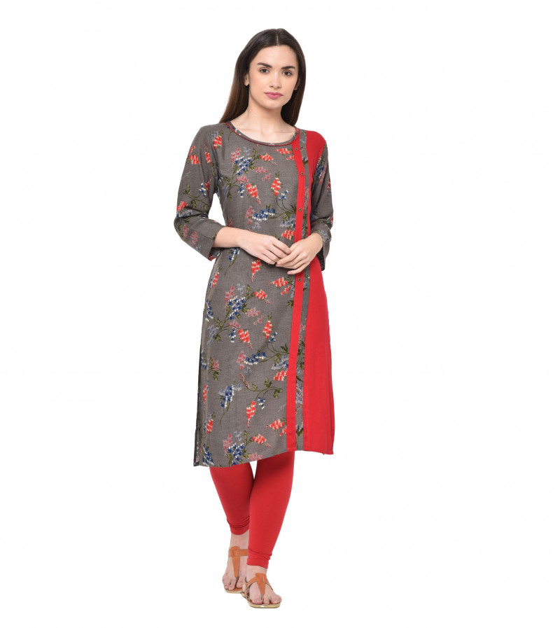 Light Brown & Red Rayon Floral Print Kurti