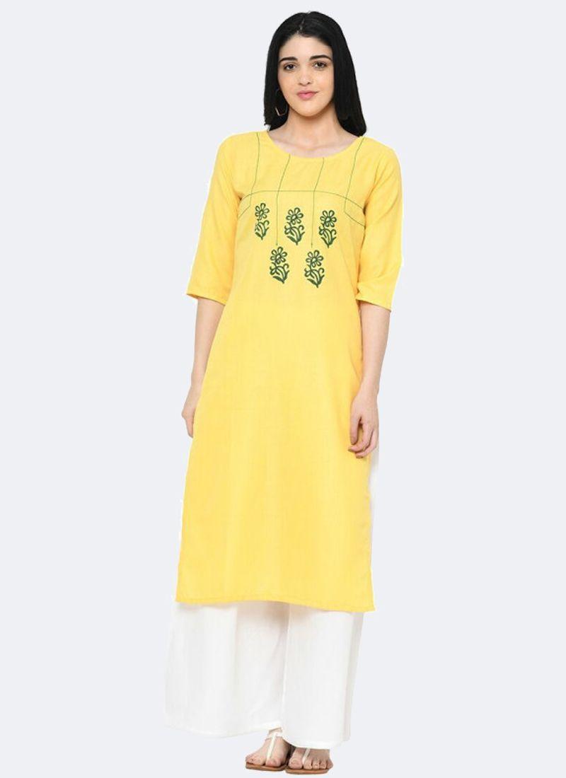 Stylish Office wear Yellow Printed Long Straight Kurti