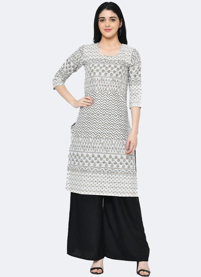 Latest Simple Black and White Office Wear Printed Long Kurti Top