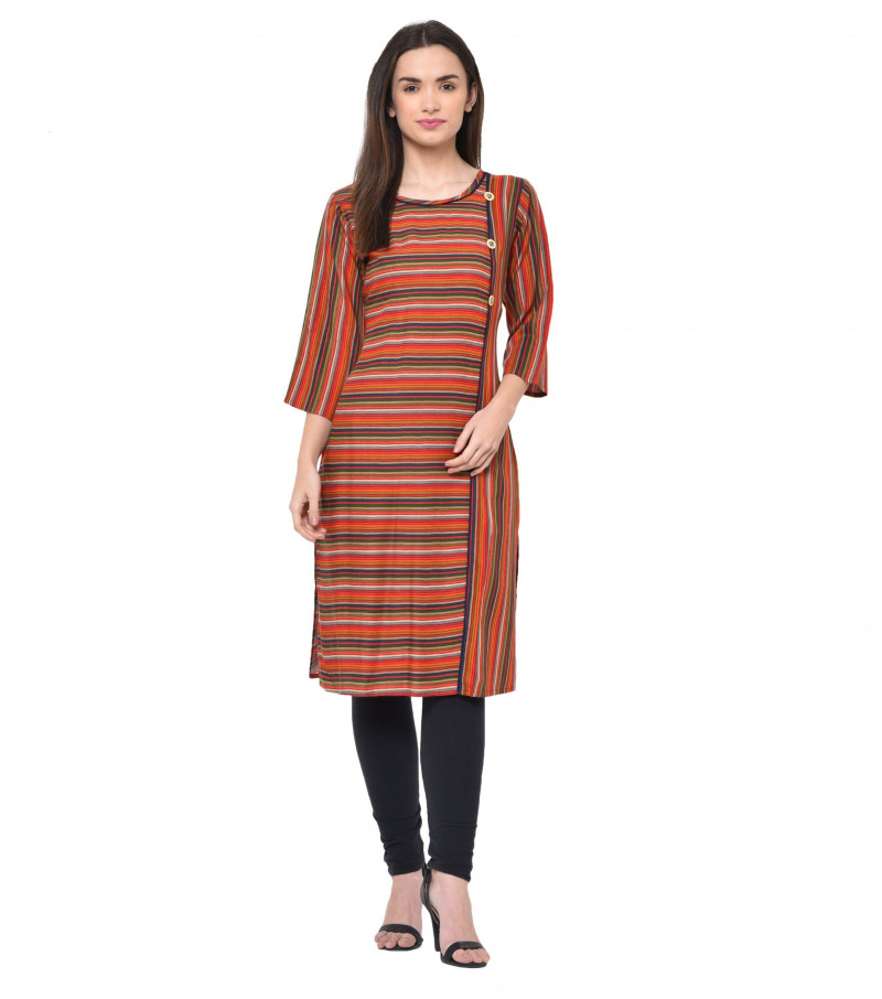 Multi Color Rayon Stylish Strips Kurti