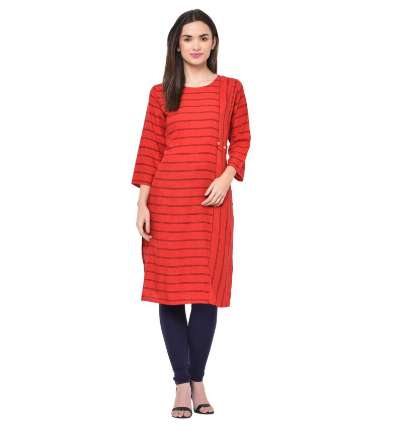 Red Rayon Strips Round Neck Kurti