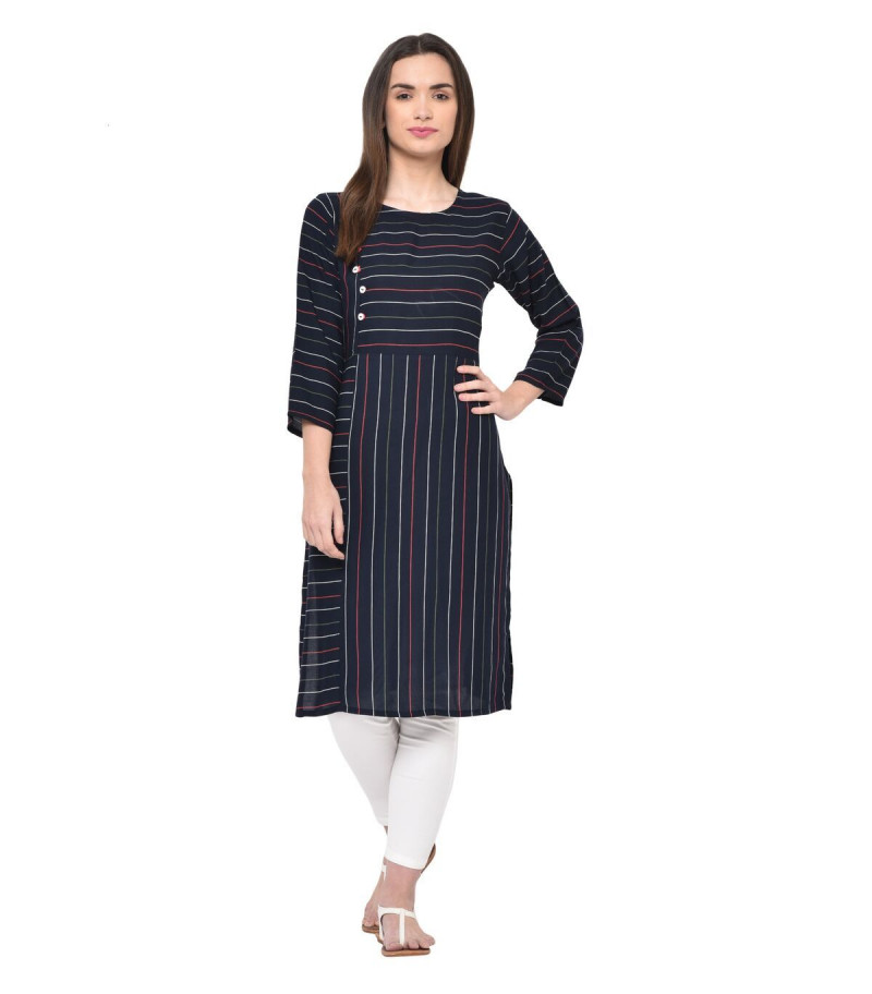 YOYO Fashion Navy Blue Rayon Striped Kurti