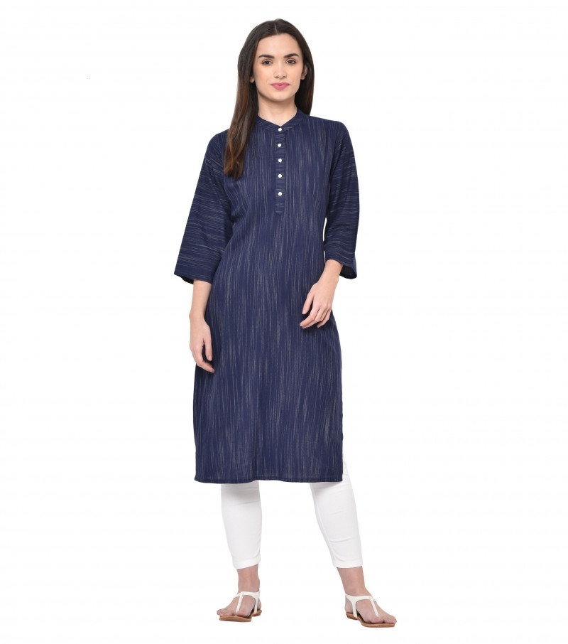 Navy Blue Rayon High Neck Straight Kurti