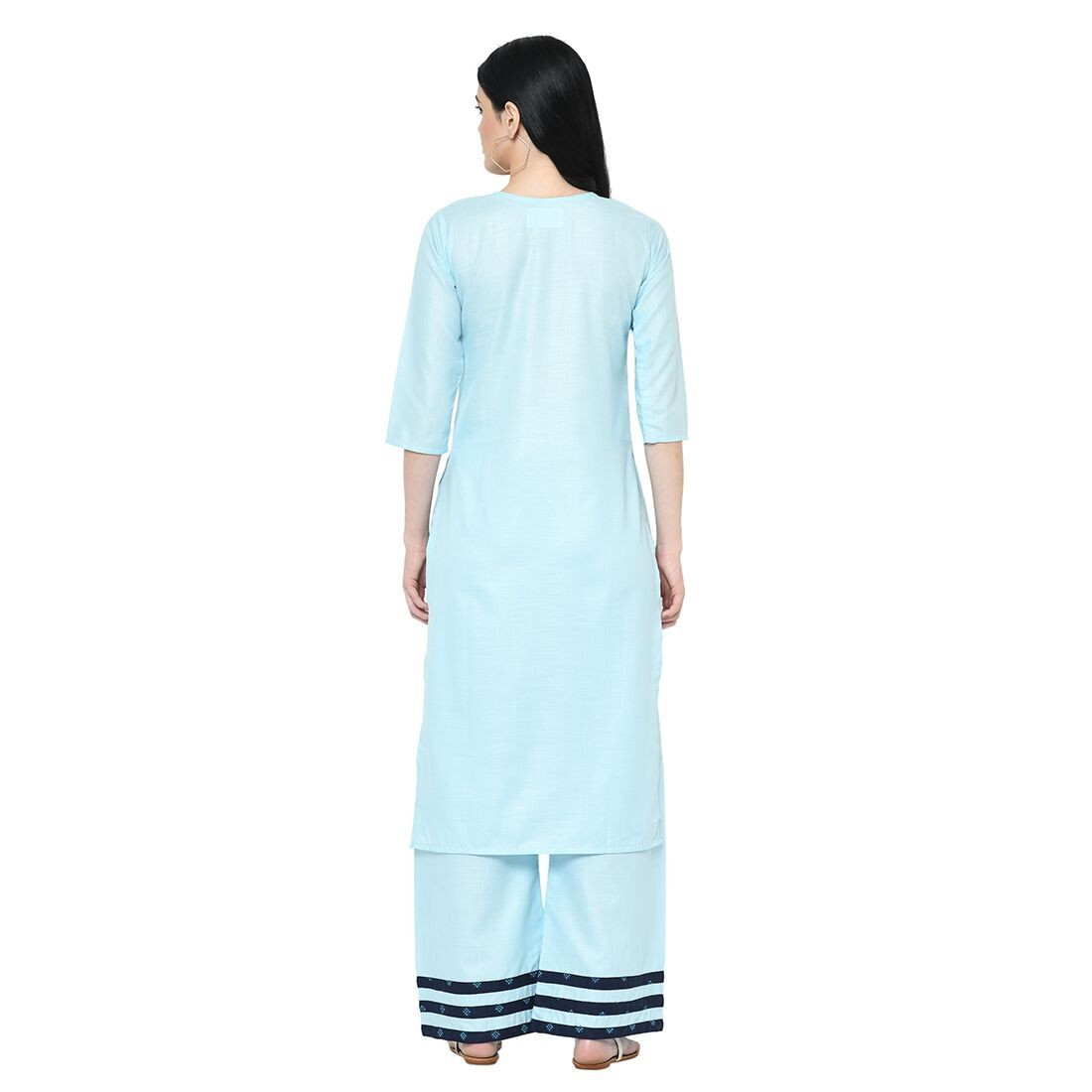Sky Blue Cotton Long Kurti Plazzo Set