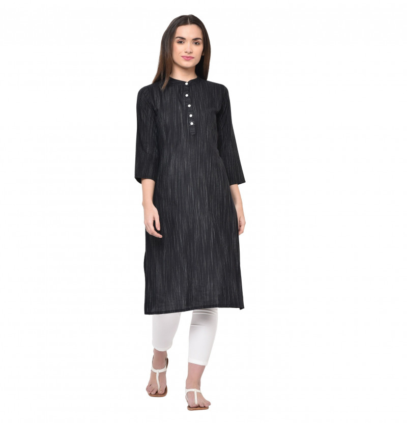 Black Rayon Straight Kurti High Neck Collar Kurti