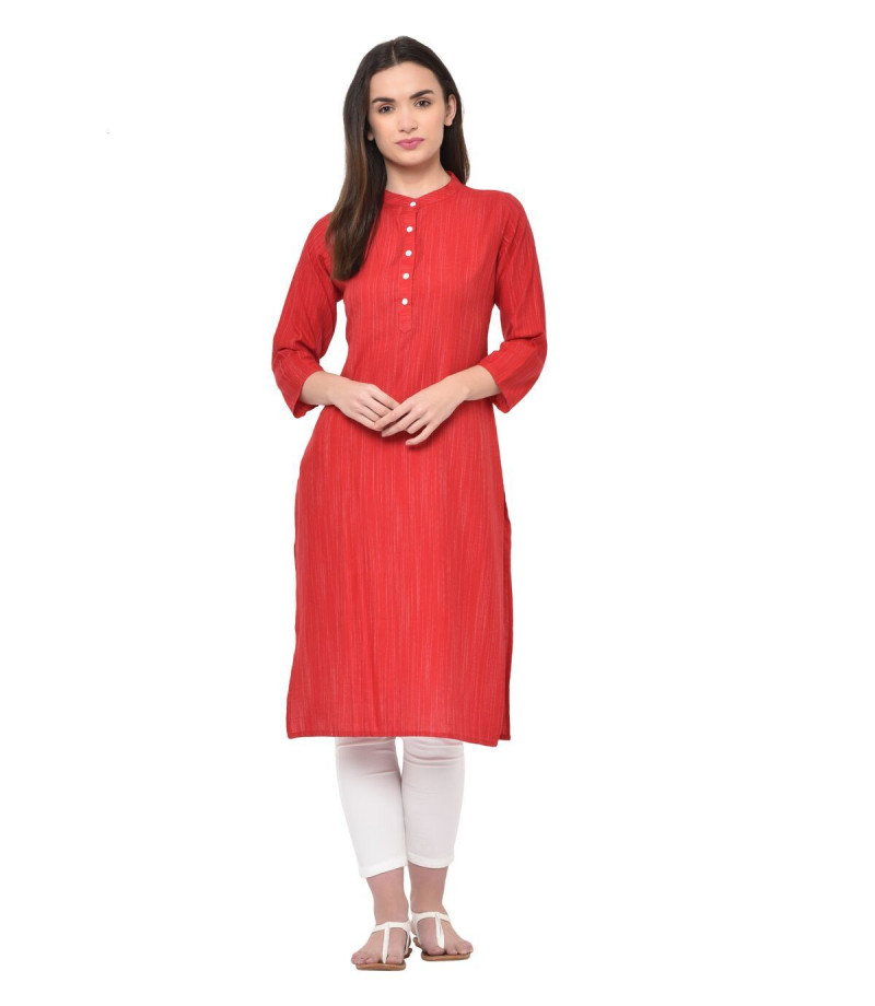 Red Rayon Designer Straight  Kurti With High Neck