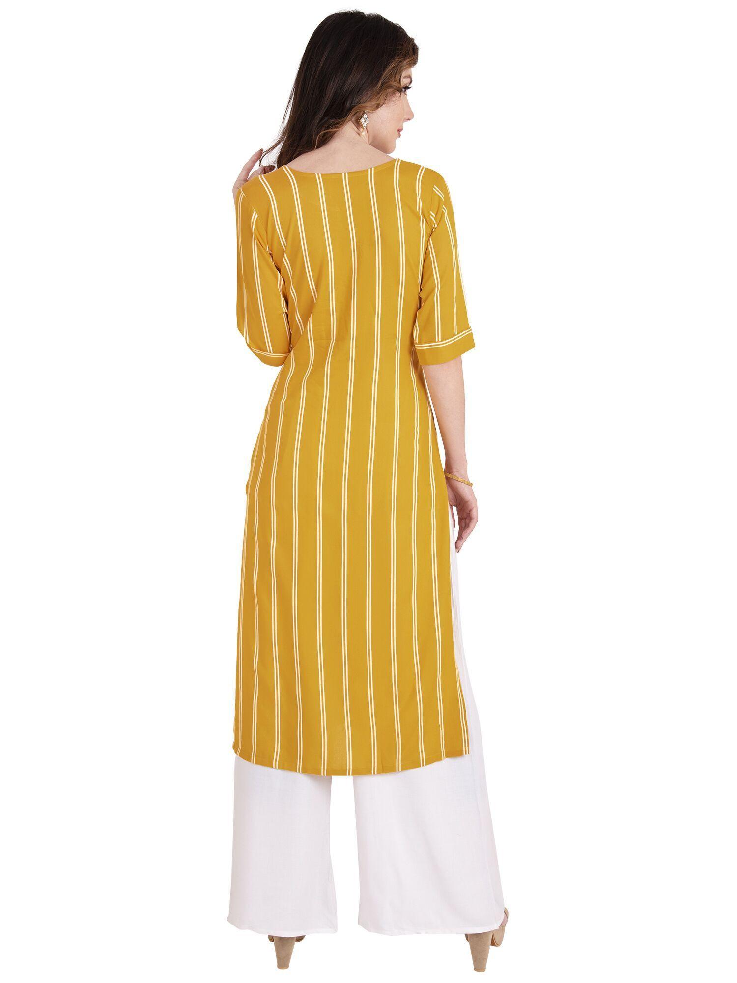 Mustard Yellow Rayon Striped Kurti