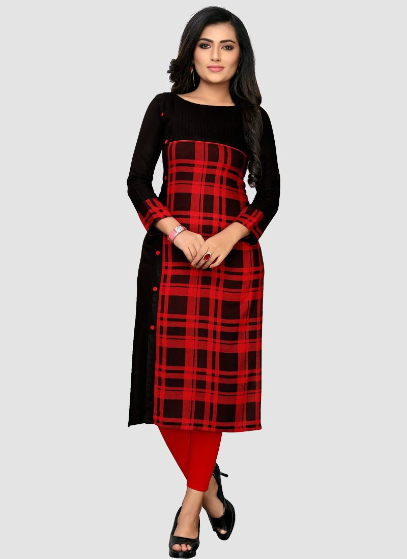 Buy Indian Best Black And Red Boat Neck Long Kurti For Ladies 2020 @ Low Rates @ YOYO Fashion. ✯  FREE SHIPPING ✯ COD