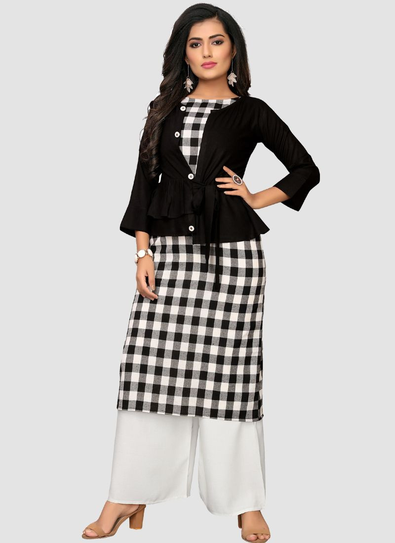 Purchase Latest Beautiful Women Black Long Cotton Checks Kurti With Jacket Online