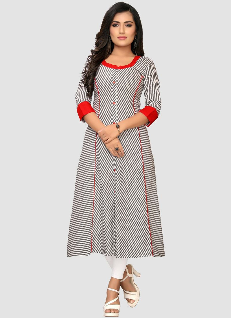 Purchase Latest Designer Grey Long Cotton Frock Kurti For Ladies 2020 Online
