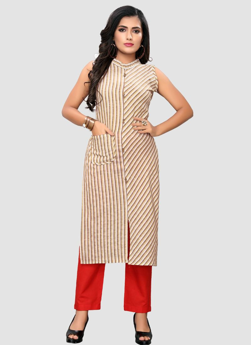 Womens Off White Cotton Long Straight Kurti 2020