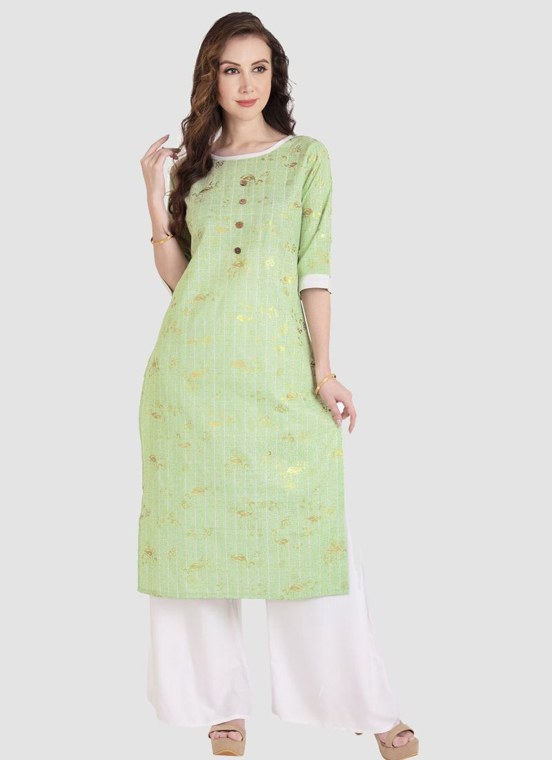 Stylish Light Green Formal Office Wear Cotton Kurti Plazo