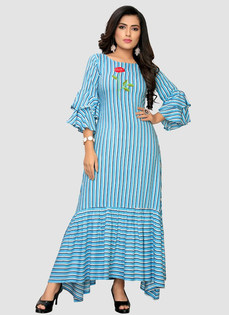 Stylish Sky Blue Rayon Long Kurti For Women 2020