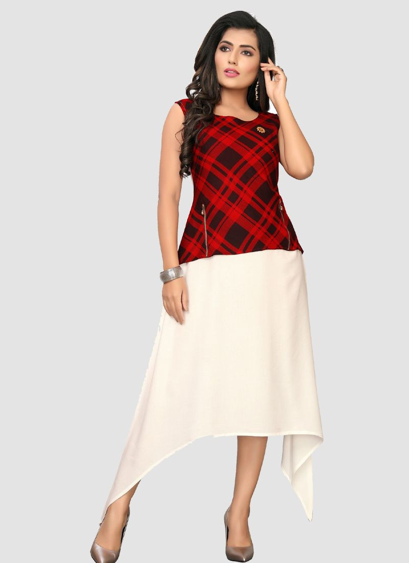 Trendy Stylish Red and White Up Down Kurti For Ladies