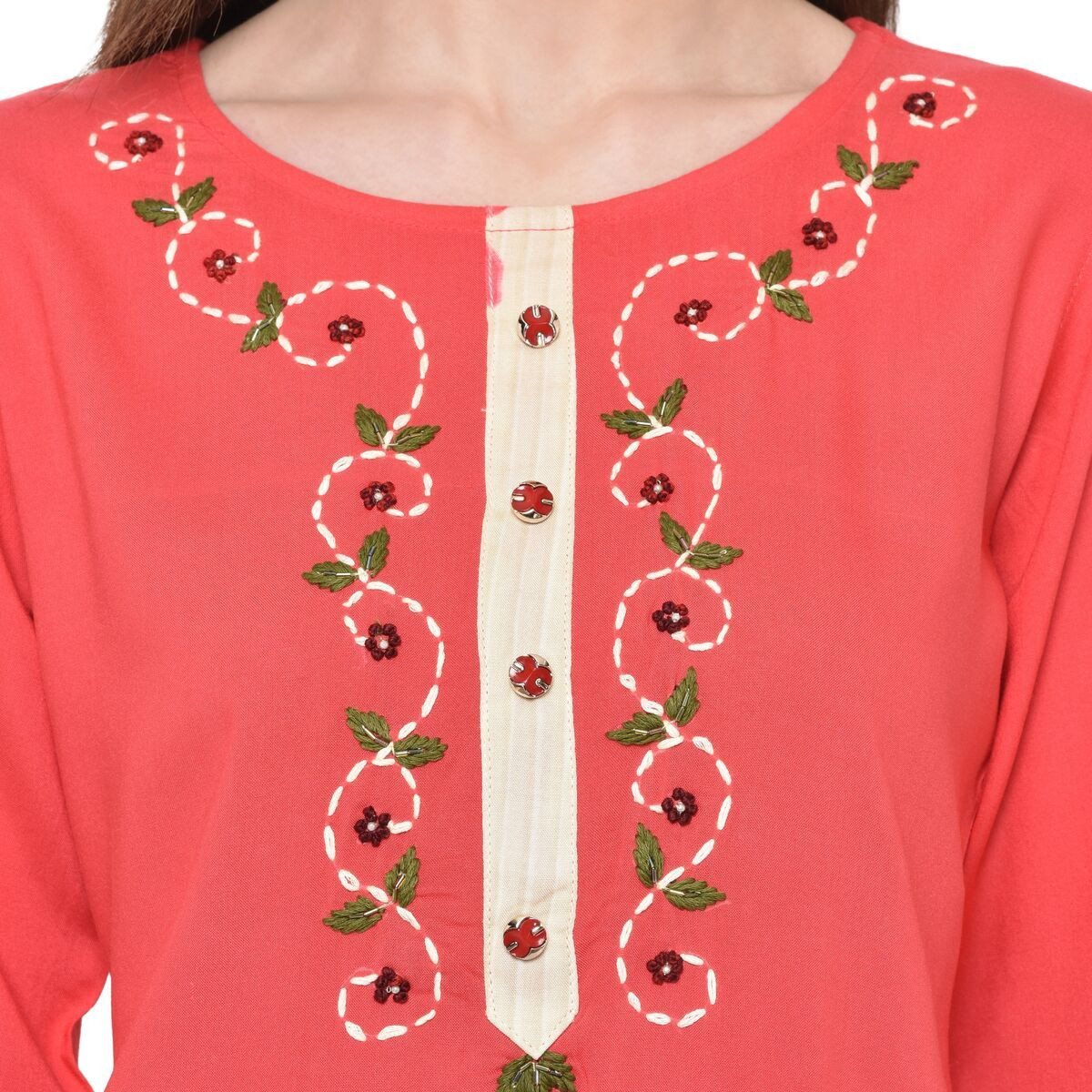 Red Rayon Floral Embroidery Kurti Plazzo Set