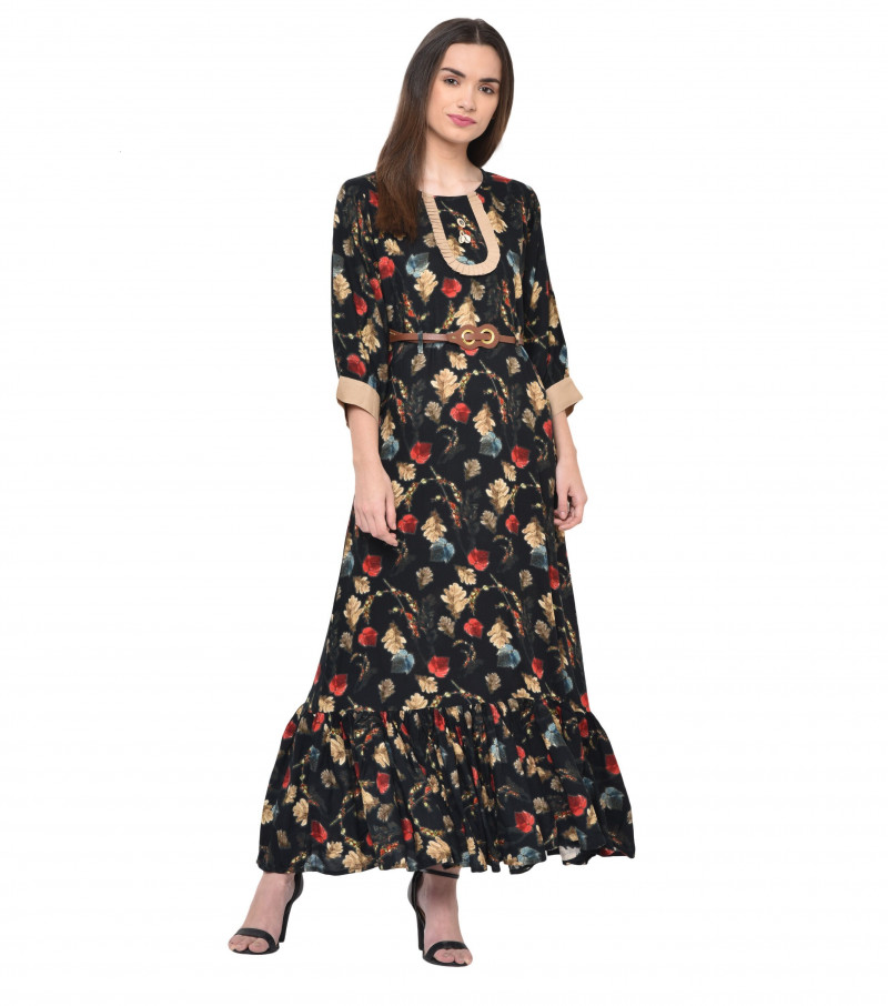 Black Rayon Stylish Floral Print Kurti