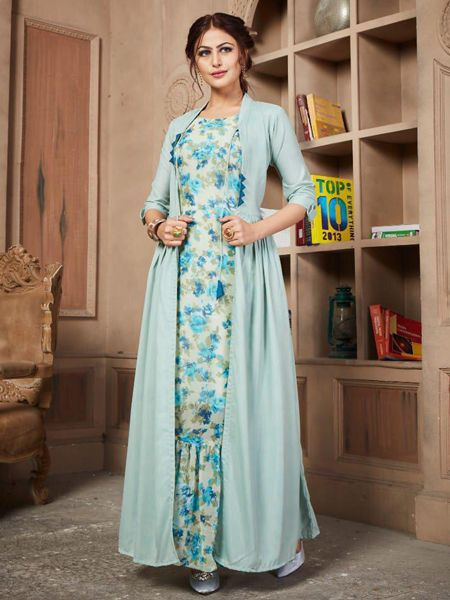 Off White Cotton Anarkali Kurti with Long Jacket