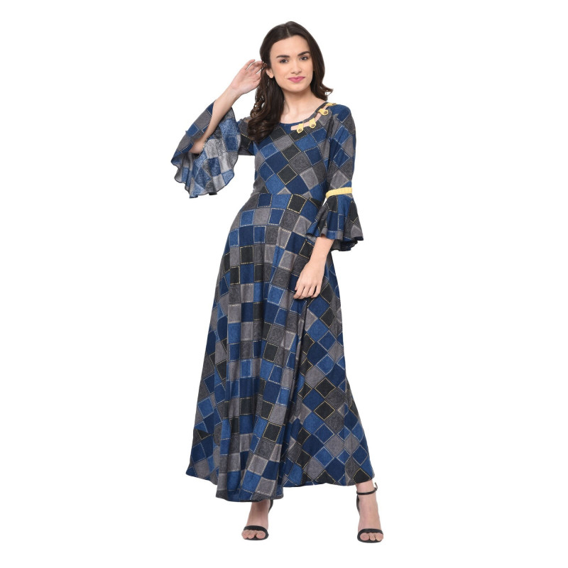 Blue & Black Rayon Flared Long Anarkali Kurti