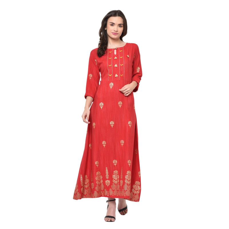 Red Rayon Exclusive Wedding Wear Kurti