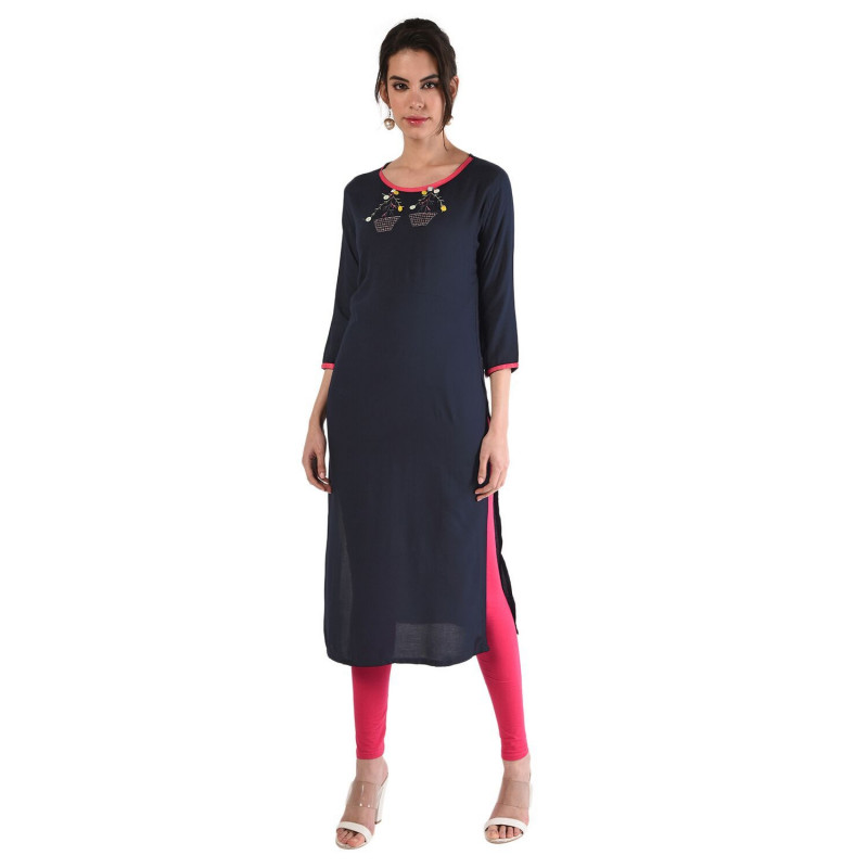 Dark Blue Rayon Straight  Kurti