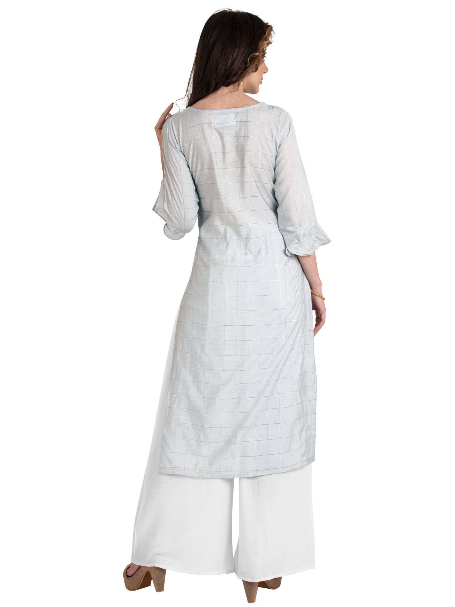 Designer Sky Blue Straight Long Cotton Kurti