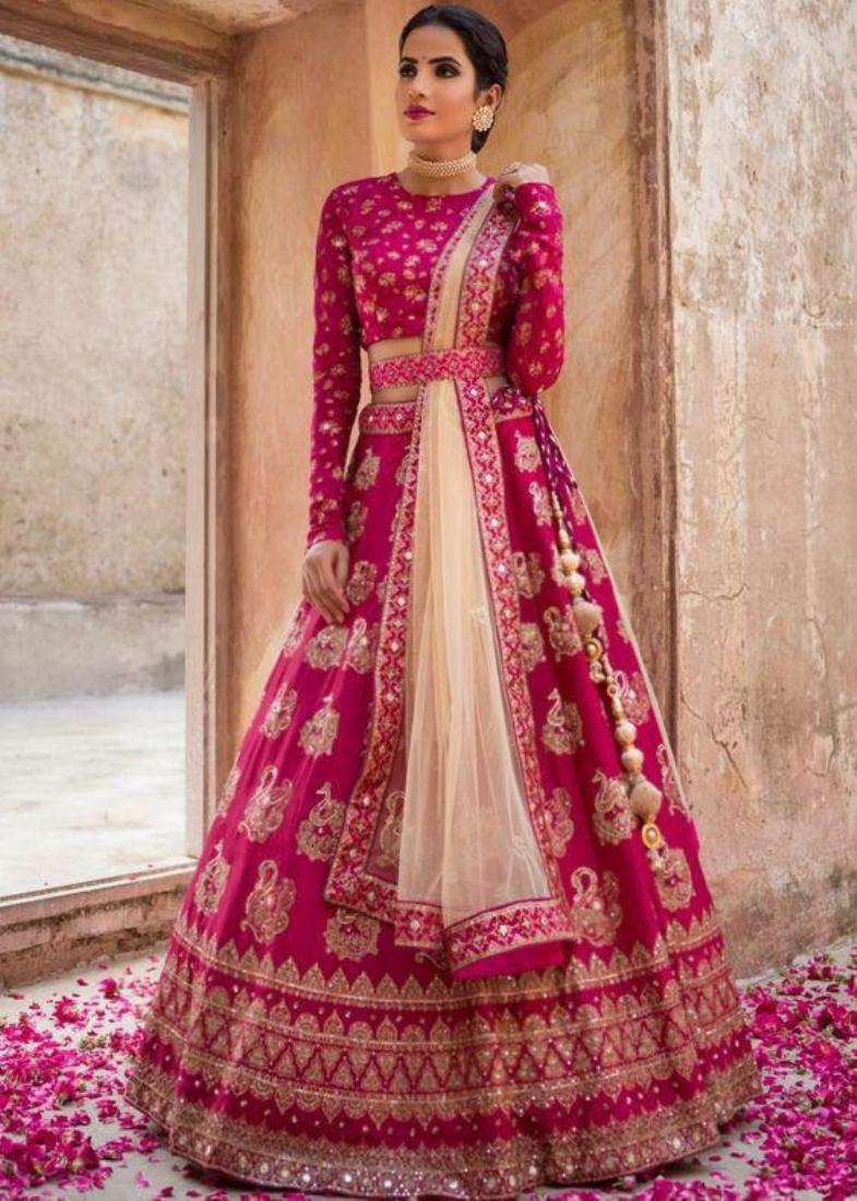 Magenta Pink Silk Embroidered Wedding Lehenga Choli