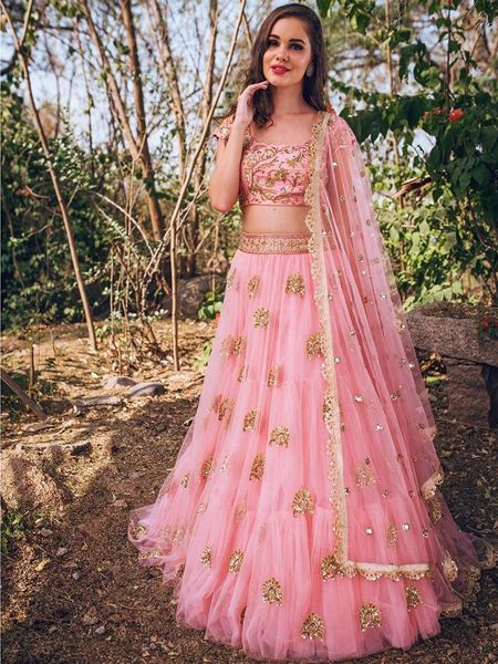 Designer Flared Pink Net Lehenga Choli with Sequins Work