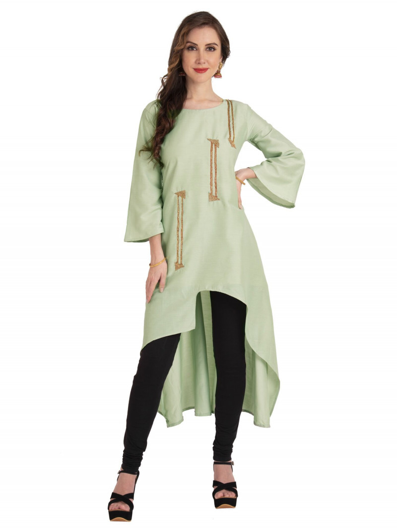 Light Green Cotton Up Down Kurti With Bell Sleeves